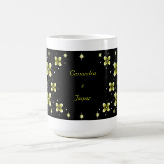 Neon Yellow Flower Sparkles Mugs