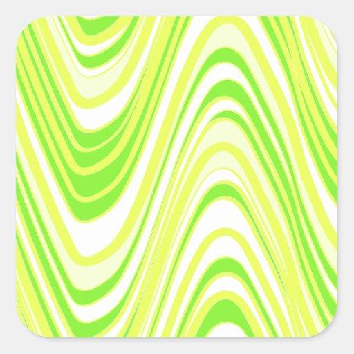 neon yellow green  white  waves square sticker