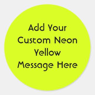 Neon Yellow, High Visibility Classic Round Sticker