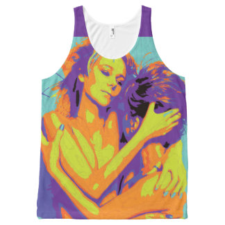 Neon Yellow Orange Purple Retro 1 Love GLBT Tshirt All-Over Print Tank Top
