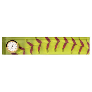 Neon Yellow Softball Name Plate