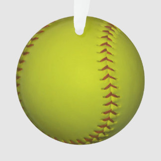 Neon Yellow Softball Ornament