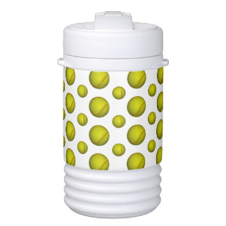 Neon Yellow Softball Pattern Cooler