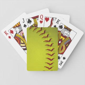 Neon Yellow Softball Playing Cards
