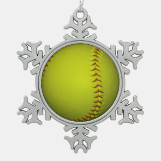 Neon Yellow Softball Snowflake Pewter Christmas Ornament