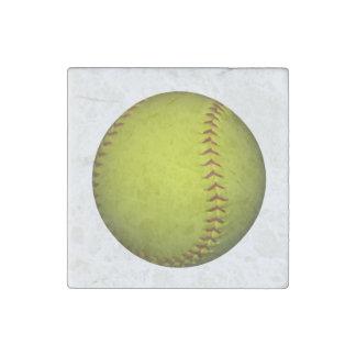 Neon Yellow Softball Stone Magnet