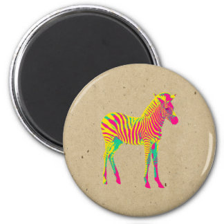 Neon Zebra Baby Animal Psychedelic Cute Funky 6 Cm Round Magnet