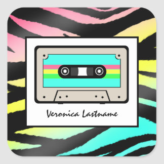 Neon Zebra Print & Cassette Tape Personalized Square Sticker