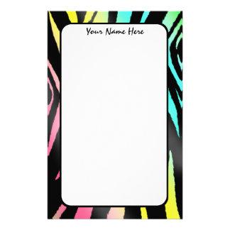 Neon Zebra Print Stationery