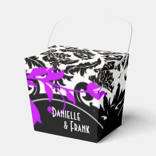 Neopolitan Damask Paisley | purple black white Wedding Favor Box