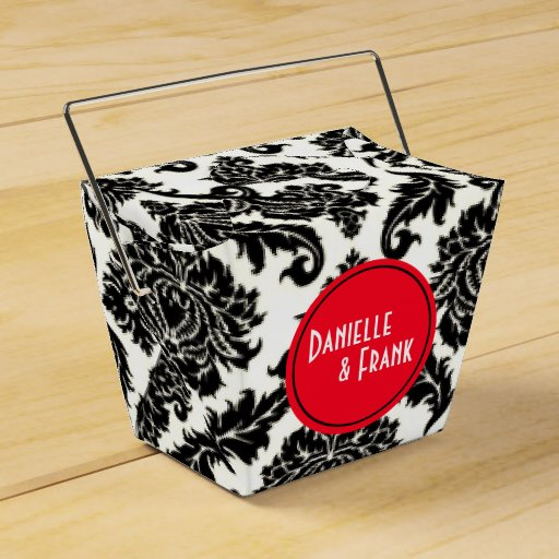 Neopolitan Damask Paisley | red black white Favor Box
