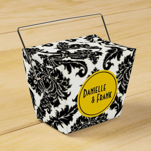 Neopolitan Damask Paisley | yellow black white Wedding Favor Box