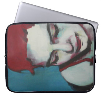 "Neoprene laptop sleeve 15"" woman with red hair"