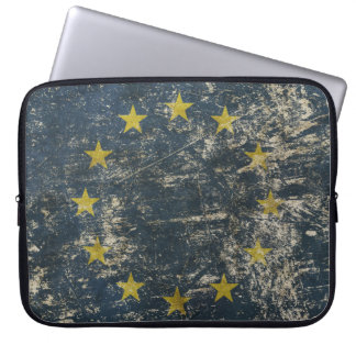 Neoprene Laptop Sleeve with vintage flag of EU