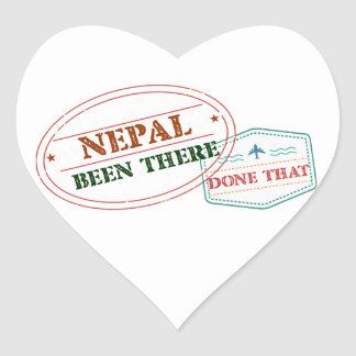 Nepal Been There Done That Heart Sticker