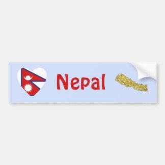 Nepal Flag Heart + Map Bumper Sticker