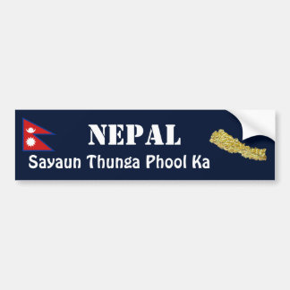 Nepal Flag + Map Bumper Sticker