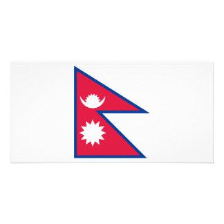 Nepal Flag Personalized Photo Card