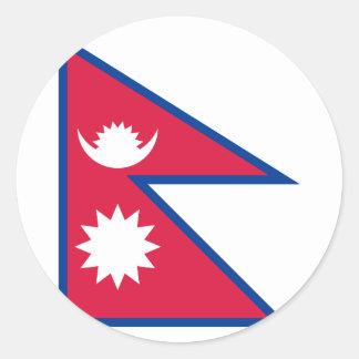 Nepal Flag Round Sticker