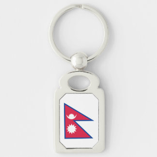 Nepal Flag Silver-Colored Rectangle Key Ring