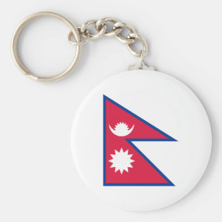 Nepal National World Flag Basic Round Button Key Ring