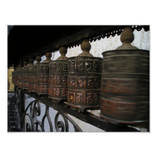 Nepal prayer wheels poster