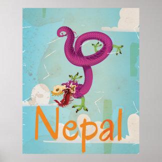 Nepal Vintage Travel Poster