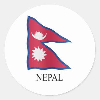 Nepali flag classic round sticker