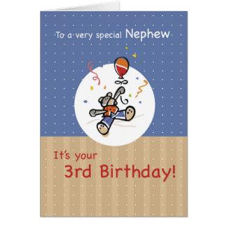 Nephew 3rd Teddy Bear Balloon Birthday Card