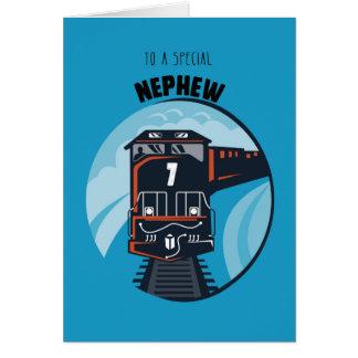 Nephew 7th Birthday Train, Little Boy, Blue Greeting Card