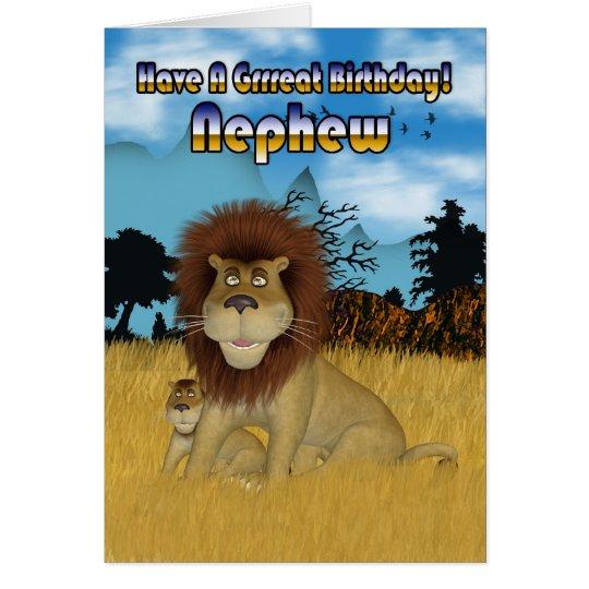 Nephew Birthday Card - Lion And Cub