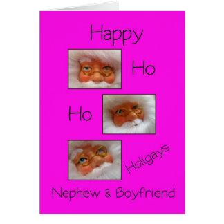 nephew & boyfriend happy ho ho holigays gay x-mas card