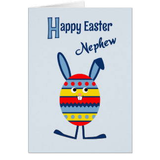 Nephew Easter egg bunny blue Greeting Card