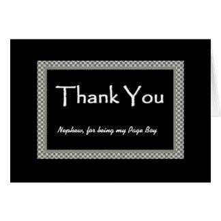 NEPHEW Page Boy Checkerboard Wedding THANK YOU Card