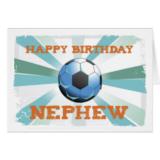 Nephew Soccer Birthday with Ball, Orange on Teal a Card