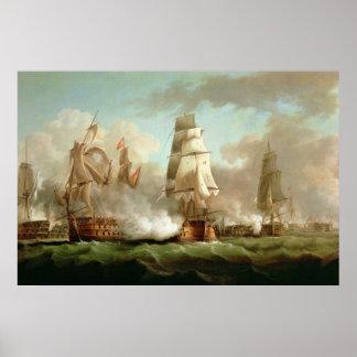 'Neptune' engaged, Trafalgar, 1805 Poster