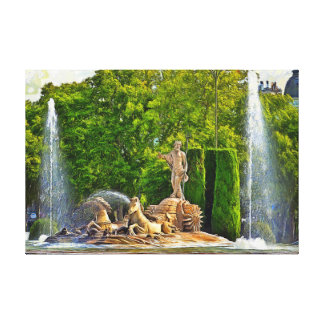 Neptune fountain in Madrid. Canvas Print