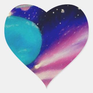 Neptune Space Universe Sky Stars Scifi Heart Sticker