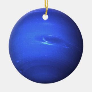 Neptune Surface Photo Blue Ceramic Ornament