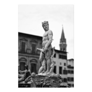 Neptune's Statue, Florence, Italy, Large Print