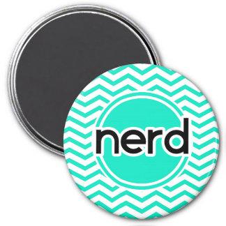 Nerd Aqua Green Chevron Fridge Magnet