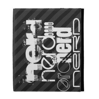 Nerd; Black & Dark Gray Stripes iPad Case