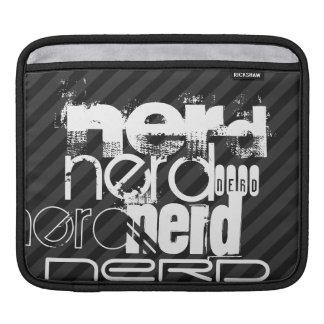 Nerd; Black & Dark Gray Stripes iPad Sleeves