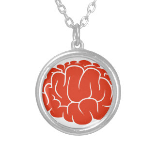 Nerd brain silver plated necklace