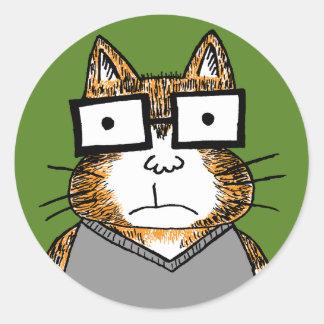 Nerd Cat Round Sticker
