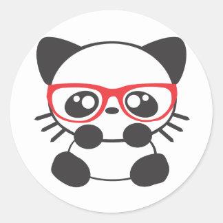 Nerd Cat Round Stickers