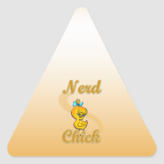 Nerd Chick Triangle Sticker