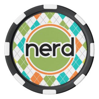 Nerd; Colorful Argyle Pattern Poker Chips Set