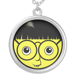 Nerd Face Silver Plated Necklace