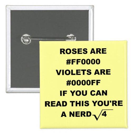 Nerd Geek Poetry Funny Button Badge